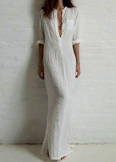 White Long Sleeve Shift Maxi Dress