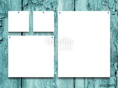 #Stock #photo: #four #nailed #square and #rectangular #blank #frames on #aqua #wooden #boards #background
