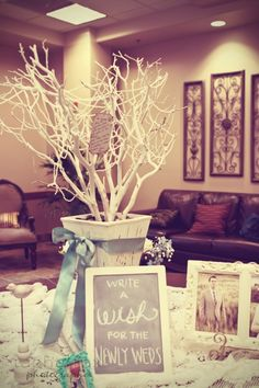 "Put branches with limbs on a table and let people write a ""wish"" on the ""wish tree"" during the wedding and hang it on the tree. Use ribbon and a hole punch and random pastel paper"
