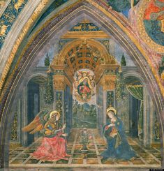 The Virgin Mary with her Iconic symbols (triple arch and celestial pattern on vault).  The Annunciation of the Birth of Christ is the first in the sequence. Pinturicchio has painted the event