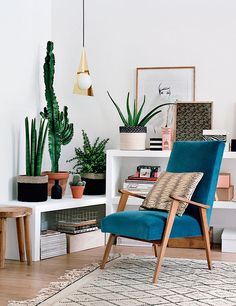 Gorgeous teal chair in cozy modern reading nook with tons of plants