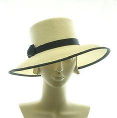 Summer Hat for Women - Natural Panama Straw Hat - Girlie Menswear Hat - Black Ribbon Bow. $245.00, via Etsy.