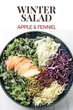 Winter salad | kale, apples, fennel, cranberries tossed in a sweet, garlicky & creamy dressing. Eat real food.
