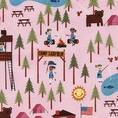 Timeless Treasures House Designer - Summer Camp - Camp Ladybug in Pink