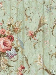 "12"" 31cm Wallpaper Sample Bird Rose French Cottage Floral Victorian 