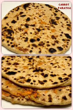 Carrot Paratha/Gajar Paratha is an Indian flatbread made with grated carrots and whole wheat flour and are cooked on a tava. Indian Food Recipes, Vegan Recipes, Ethnic Recipes, Whole Wheat Flour, Carrots, Good Food, Vegetarian, Tasty, Lunch