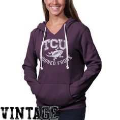 TCU Horned Frogs Womens Vintage Logo Pullover Hoodie - Purple