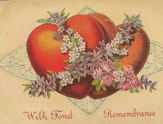 With Fond Remembrance Two Hearts Together with Spring Flowers Vintage Valentine's Day Postcard by TheOldBarnDoor