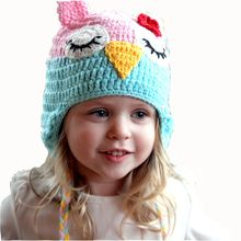 MADE IN USA Green crochet baby sleepy owl hat made with 30/% milk protein fiber