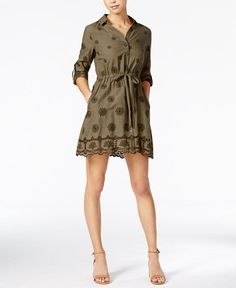 74.99$  Buy here - http://viypm.justgood.pw/vig/item.php?t=gfrd5fz35786 - Cotton Embroidered Shirtdress, Only at Macy's