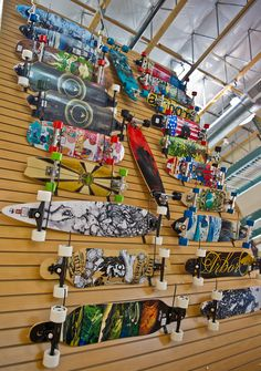 Wall of Arbor Longboards - and some Landyachts for flavor. Basically wall of love 😍 Skateboard Storage, Skateboard Gear, Longboard Design, Longboard Decks, Skate Bord, Long Skateboards, Cruiser Boards, Skate Decks, Surf Shop