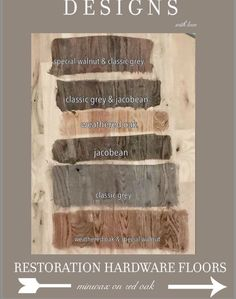 Rustic Restoration Hardware Floor Stain Hack using Minwax Swatches on Red Oak. Classic Gray , jacobean, weathered oak, or special walnut Red Oak Floors, Hardwood Floors, Wood Flooring, Hardwood Floor Stain Colors, Reclaimed Wood Floors, Plywood Floors, Dark Hardwood, Restauration Hardware, Floor Colors