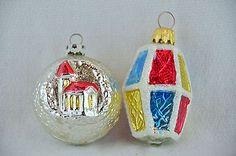 Vintage Blown Mercury Glass Lantern & Star Burst Christmas Ornament Made Germany