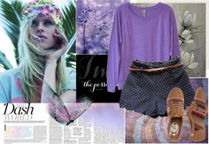"""Purple and zigzag"" by cultureoffashion ❤ liked on Polyvore"