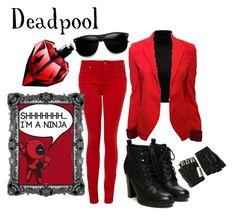 """Deadpool (Female)"" by whereisnet ❤ liked on Polyvore featuring Forever New, Balenciaga, Paige Denim, Majesty Black, marvel, Superhero, OC and deadpool"