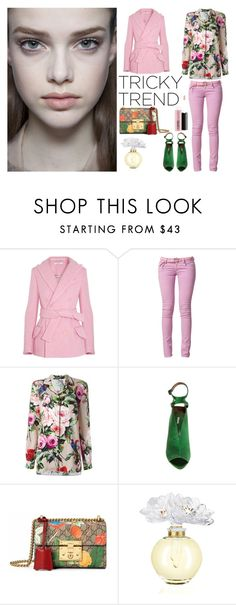 """TRICKY TREND"" by sanskrit7 ❤ liked on Polyvore featuring Carven, Three Little Words, Dolce&Gabbana, Max Studio, Gucci, Lalique and MAC Cosmetics"
