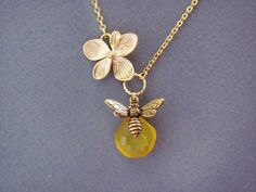 Gold Flower and Bee Necklace unique gifts by ACutieChick on Etsy