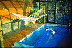 lots of lovely indoor pools, especially this one with a hammock above the pool #pools