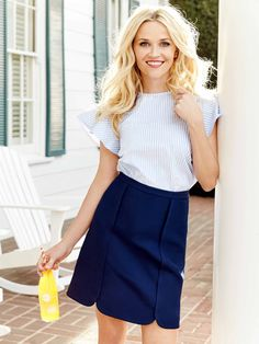 Margaret Solid Skirt | Draper James Spring '16 | Our version of the perfect mini skirt: not too short, not too long, a large scallop at the hem and a great hue. Yep, sounds pretty perfect.
