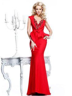 Trumpet Mermaid Pink Grey Sweep Brush Train Bowknot V-neck Zipper Elastic Woven Satin Sleeveless Evening Dresses