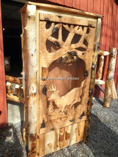 Handcarved Aspen Log 8 Gun Cabinet (814) 257 8911