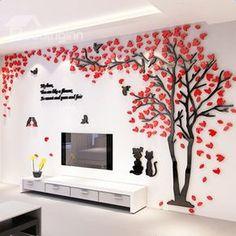 Etiquetas de parede de acrílico Vintage 3D de acrílico de árvores e pássaros - beddinginn.com