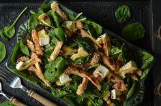 sałatka z kurczakiem w sezamie z serem camembert Vegetable Pizza, Asparagus, Chicken, Vegetables, Food, Impreza, Diet, Salads, Studs