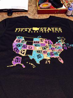 #halfmarathon #Running in 50 States Member Creativity with our 50 States Half Marathon Club shirts www.50stateshalfmarathonclub.com