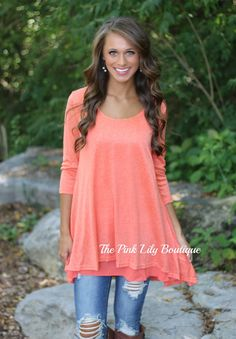 The Pink Lily Boutique - Breeze On By Orange Tunic, $35.00 (http://thepinklilyboutique.com/breeze-on-by-orange-tunic/)
