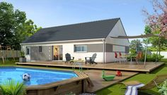 Maison traditionnelle Amaryllis - version enduit gris. Modèle de maison conçu par les équipes Maisons Clair Logis Centre France