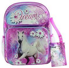 NWT Global Designs Dream Horse Pony Daisy Backpack Bonus Case 16x12 Pink Purple