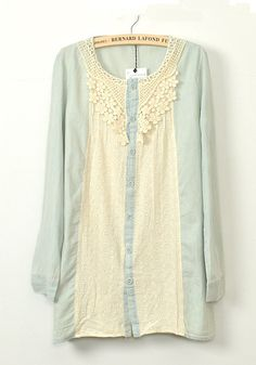 So PRETTY! I love it! Light Blue and Ivory Lace Patchwork Cotton Blend Blouse