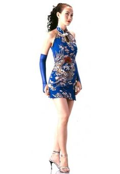Sexy Short Blue Cheongsam Unique and elegant, this sexy short blue chinese style dress is perfect for an evening out or any special occasion