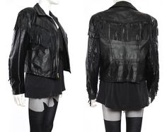 Vtg 80s Black Fringe Leather Biker Motorcycle Jacket Coat M