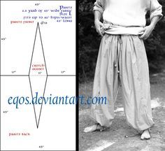 Pattern: Large Salwar by eqos Pants for Christmas plays or a Genie, Aladdin, Sinbad. Viking Pants, Medieval Pants, Viking Garb, Viking Dress, Viking Clothing, Diy Clothing, Historical Clothing, Sewing Clothes, Costume Patterns