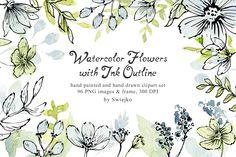 Soft Watercolor Flowers and corners by swiejko on @creativemarket