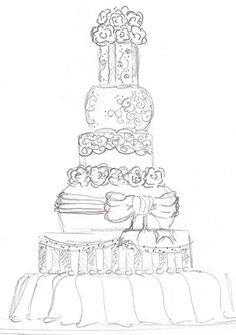White And Gold Wedding Sketch Of The Perfect Cake