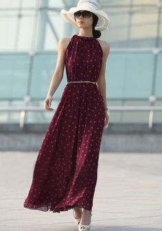 Wine Red Polka Dot Belt Draped Band Collar Sleeveless Chiffon Dress