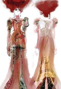 Christian Lacroix's costume sketches for I Capuleti e i Montecchi, Bayerische Staatsoper (2011)