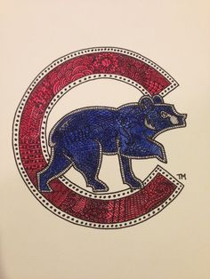 Sharpie and watercolor zentangle of the old school Cubs logo. #zendoodle #zentangle #sharpieart #diy #art #watercolor #sharpie #Cubs #ChicagoCubs #Wrigley #Chicago #MLB