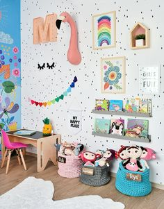 Stylish & Chic Kids Room Decorating Ideas - for Girls & Boys Perfect kids room organization ideas clutter // kids room wall painting and decorations Kids Room Organization, Playroom Ideas, Colorful Playroom, Colorful Girls Room, Rainbow Girls Bedroom, Kids Playroom Colors, Rainbow Room Kids, Colourful Bedroom, Playroom Furniture