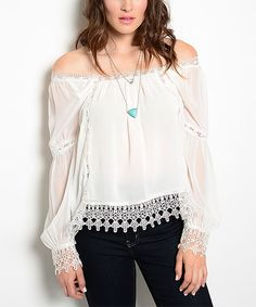 Look what I found on #zulily! White Crochet Off-Shoulder Top by Shop the Trends #zulilyfinds