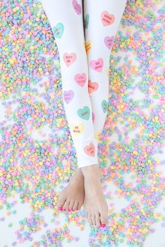 Tutorial: Conversation heart leggings, with free printable would do these in black with the hearts in white and with insults and rude comments
