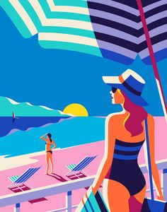 A beautiful beach setting illustrated by Malika Favre for the Kuoni France 2016 brochure. A series of travel illustrations created by Malika Favre for the Kuoni France 2016 brochure. The name Malika Favre should be familiar to our daily Beach Illustration, Digital Illustration, Mouse Illustration, Arte Fashion, Illustrations And Posters, Travel Posters, Doodle Patterns, Vintage Posters, Graphic Art