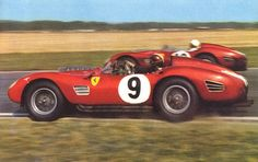Tony Brooks' #9 Ferrari 250TR passes team mate Olivier Gendebien on the inside at Goodwood during the 1959 Tourist Trophy. (Gendebien took 3rd place overall, 2nd in class, together with Phil Hill, Tony Brooks would go on to a 5th place, teamed up with  Dan Gurney)