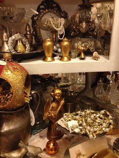 Gold Tones on the shelf -Riverside Calif -Elizabeth St has many vintage and Antique  stores 12-2014