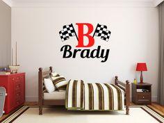 Jongens naam geruite vlag Racing Monogram Wall Decal door StickerHog