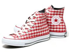 Red gingham-check Converse All-Stars! Saw these in a boutique on Abbot Kinney. Must go back and get a pair. (Support local, indie retailers!)