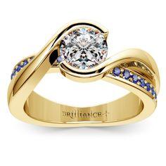 Bezel Sapphire Gemstone Bridge Engagement Ring in Yellow Gold | Image 01