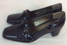 Liz Claiborne Women Shoes Croc Patent Black Oxford 8M Leather Jester Heels #LizClaiborne #Oxford